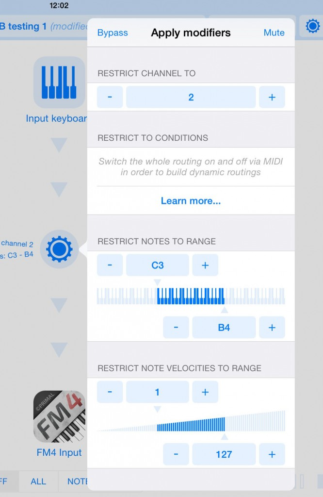 MIDI note and MIDI velocity ranges can easily be configured within Midiflow.