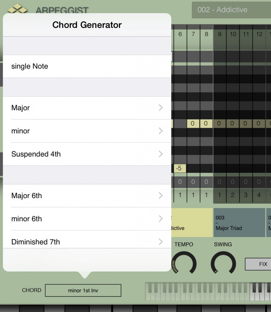 The app offers a range of chord options also...  so you can generate a full chord from just a single key press.