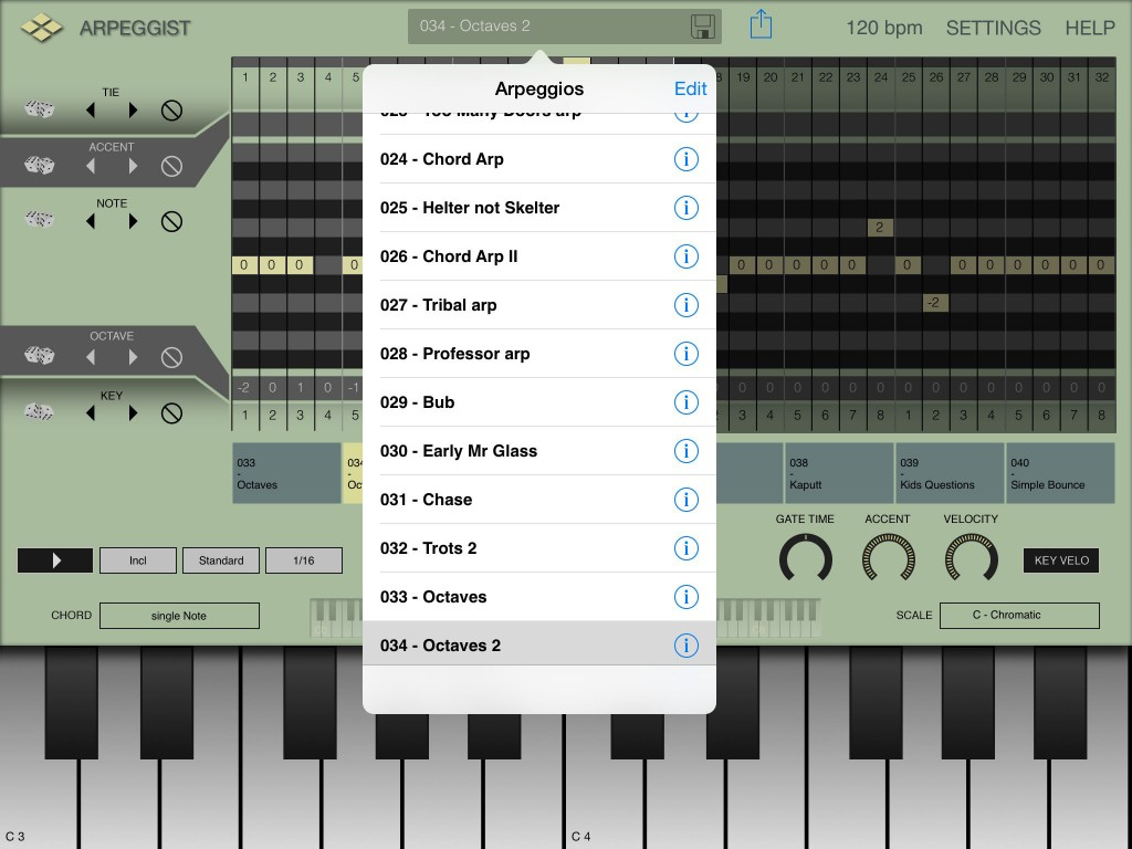 Arpeggist is supplied with some pattern to get you started but you can, of course, also create and save your own.