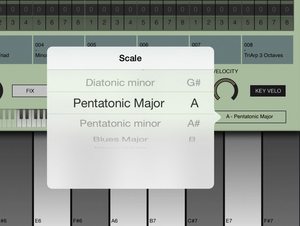 Arpeggist keyboard includes a good range of scale options.