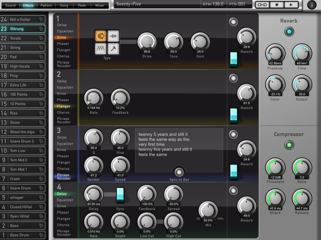 The Effects options include the very interesting Phrase Vocoder effect.