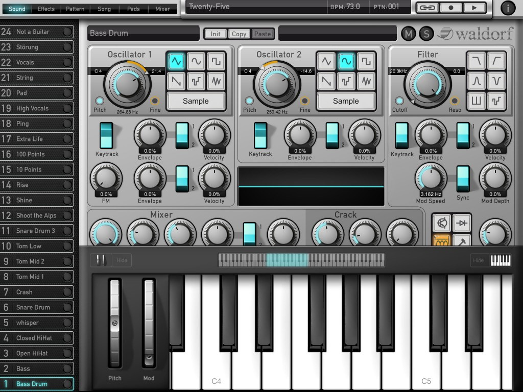 Attack Drums features a virtual keyboard - so you can easily add melodic or chord lines to your patterns.