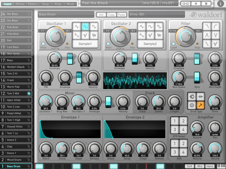Attack Drums - Waldorf Music get serious about drum synthesis.