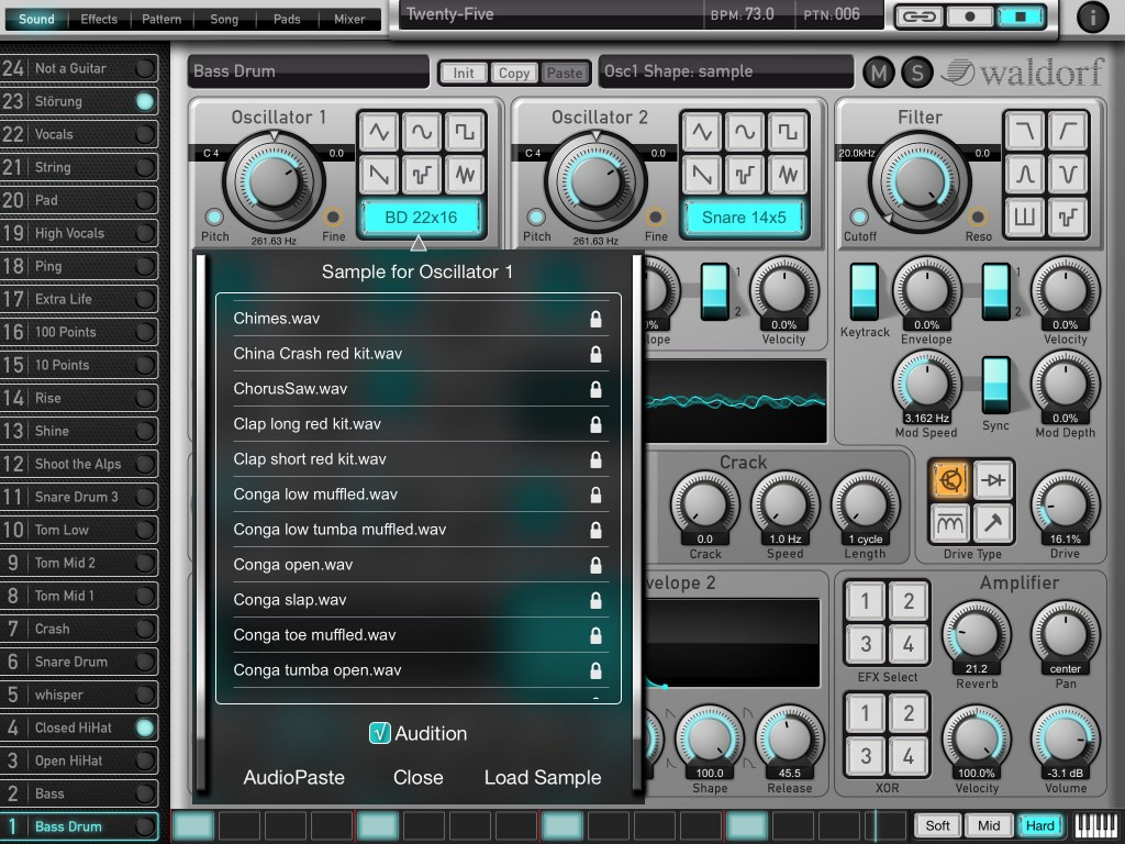 While the app does drum synthesis, it can also do sample-based sounds.