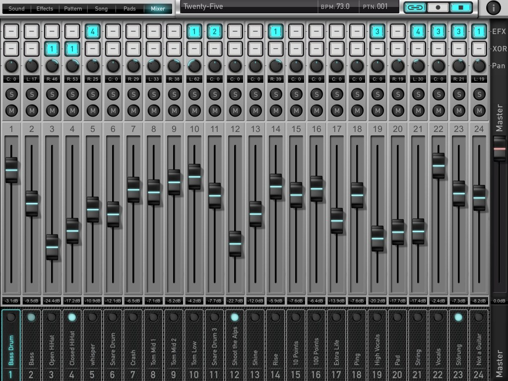 The Mixer screen is basic in terms of functions but does a solid job.