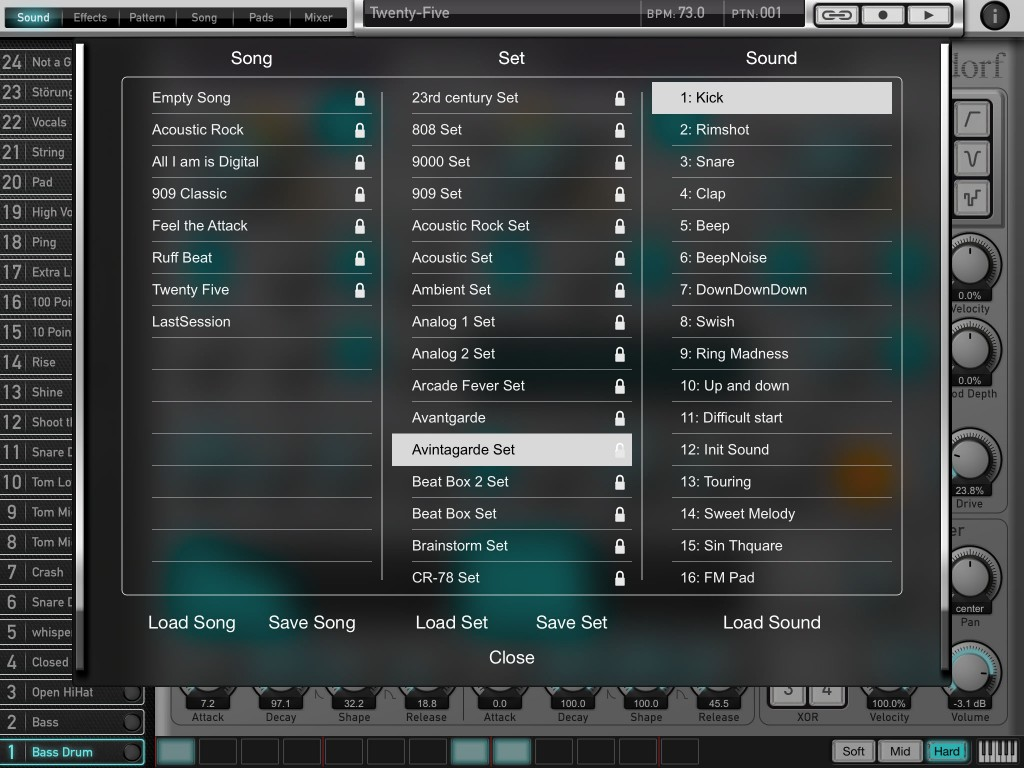 Attack Drums ships with a small set of example sounds and some very varied drum kits and individual sound presets.