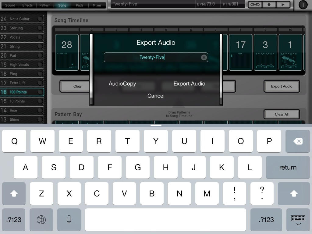 The Export Audio option from the Song page can be used to render your completed song.