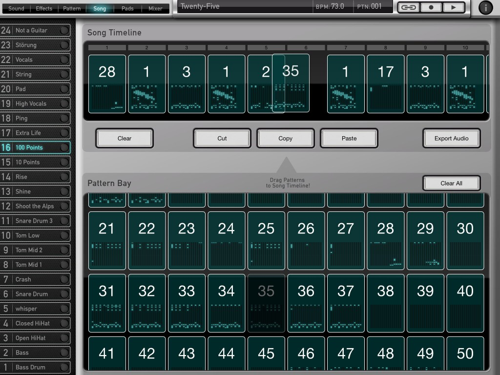 Patterns can be dragged and dropped into the Song Timeline 9as is being done in this screenshot) so song construction is pretty straightforward.
