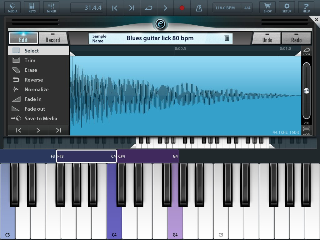 The sample editing options allow you to trim, normalise and add fades to your samples if required.