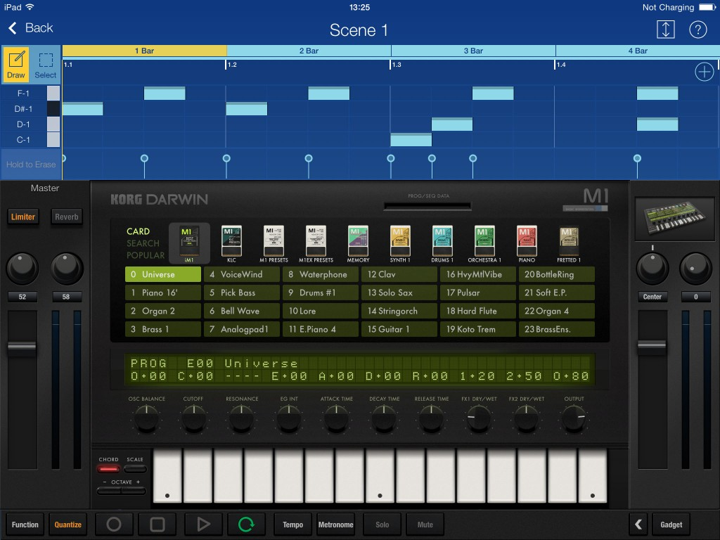 Used within Gadget, you get fewer sound editing options, but you can use multiple instances of 'Darwin (iM1) if required and all the presets are available.