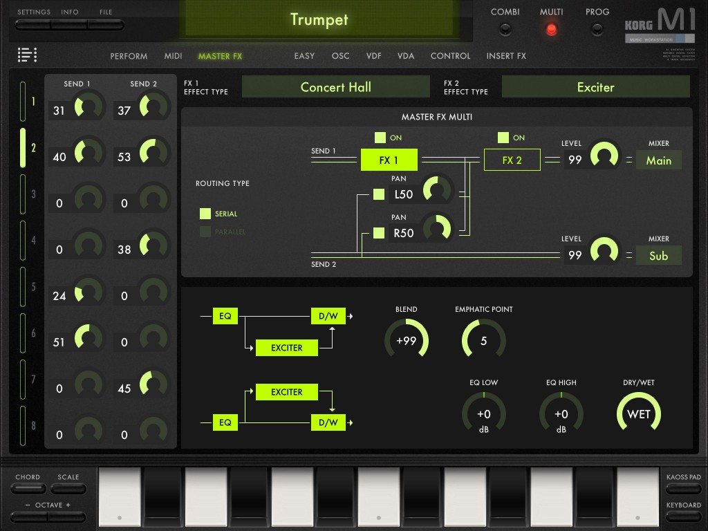 The app offers plenty of effects options both as insert effects (applied to an individual program) and two 'master FX'.