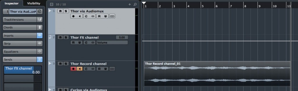To actually record one of my iPad Audiomux audio streams, I used a combination of three tracks; it's a bit cumbersome to set up initially but is flexible and works very well.