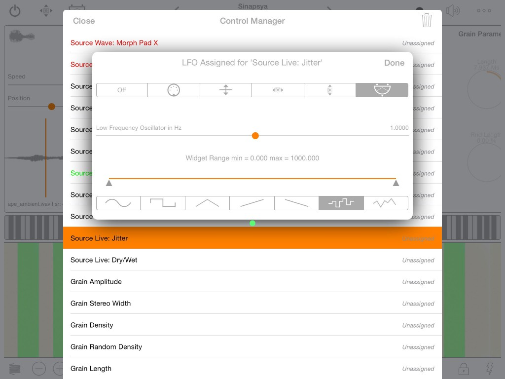 As with apeSoft's other apps, there is a comprehensive 'control' system for real-time adjustment of the app's parameters.