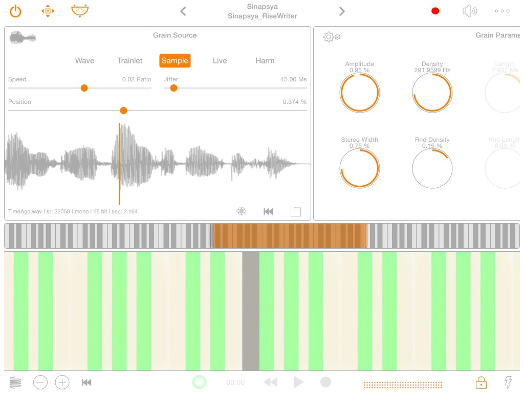 iPulsaret offers five different 'sound source' options include a pre-recorded sample as shown here.
