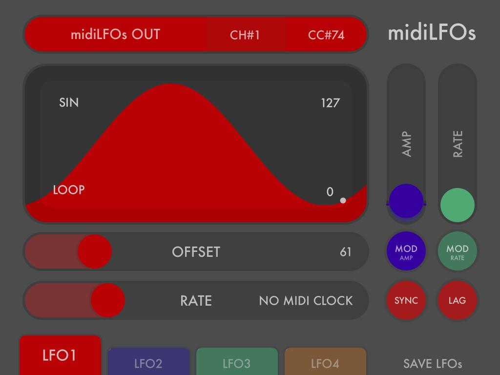 midiLFOs - colourful MIDI LFO modulation data for your iOS music workflow :-)