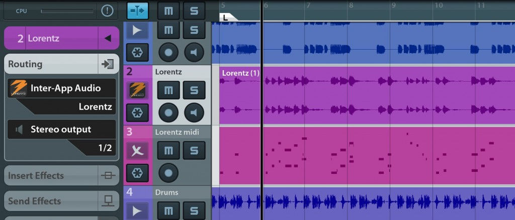 Lorentz also worked well via IAA and I was able to capture audio from the app and trigger it via a Cubasis MIDI track without any issues.