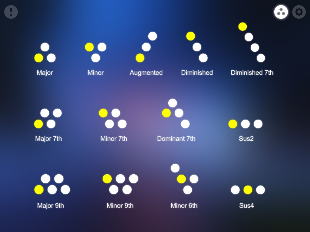 The chord shapes reference screen is a useful reminder of how to create different chord types.