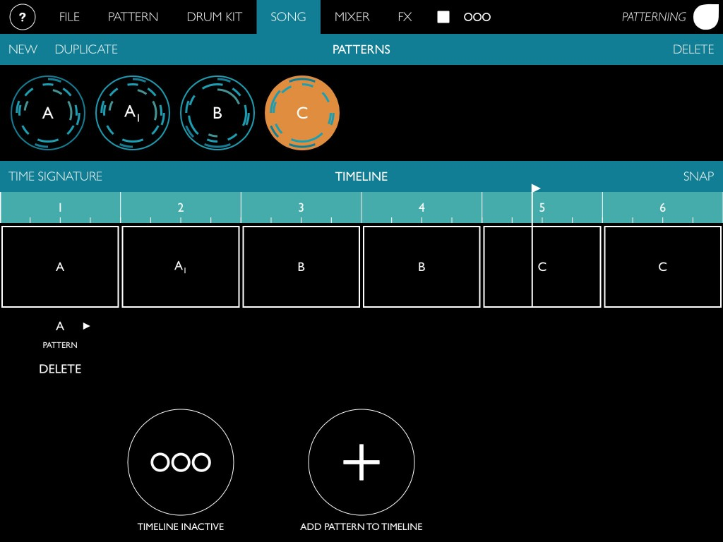 The Song page allows you to sequence your patterns into a full song arrangement.
