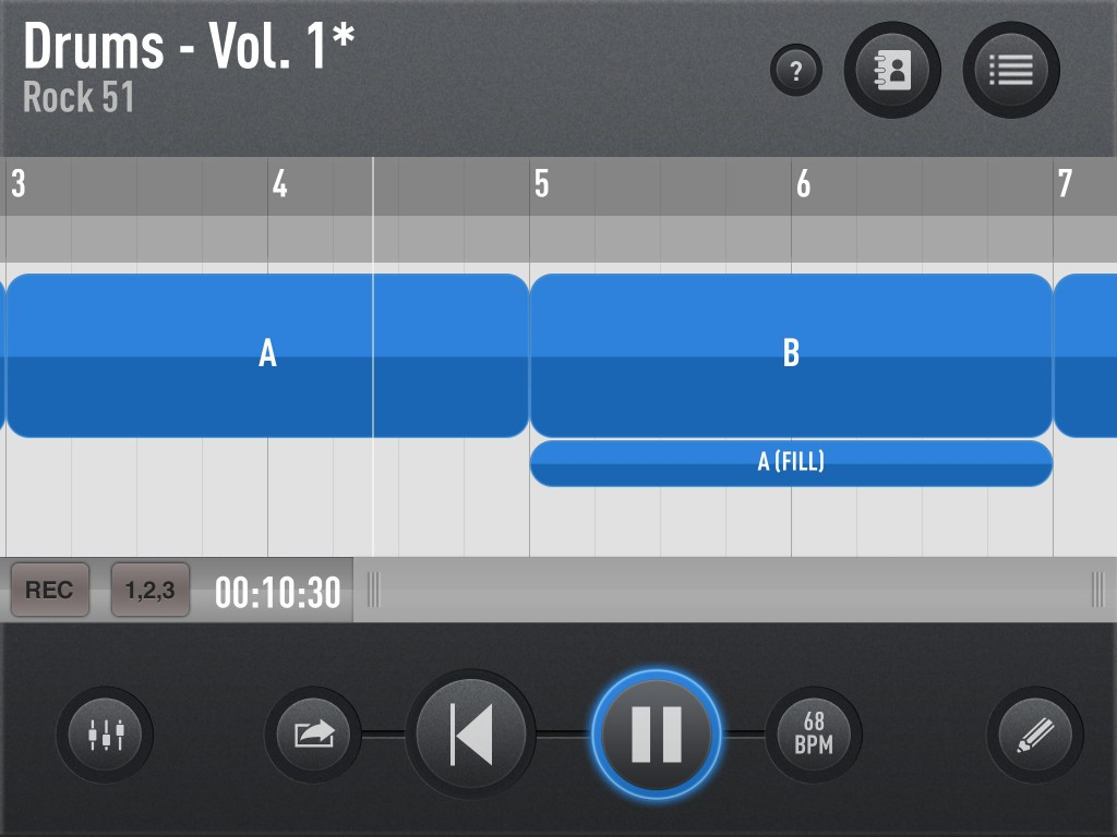 SessionBand Drums; easy to assemble acoustic drum tracks in an app.