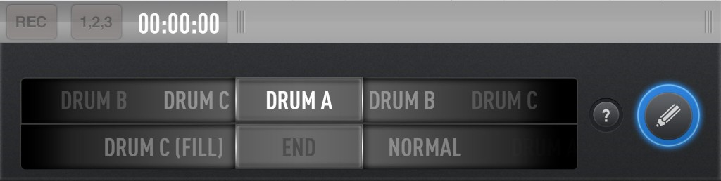 You can select drum loops and fills with the two 'dials' at the base of the editing screen.