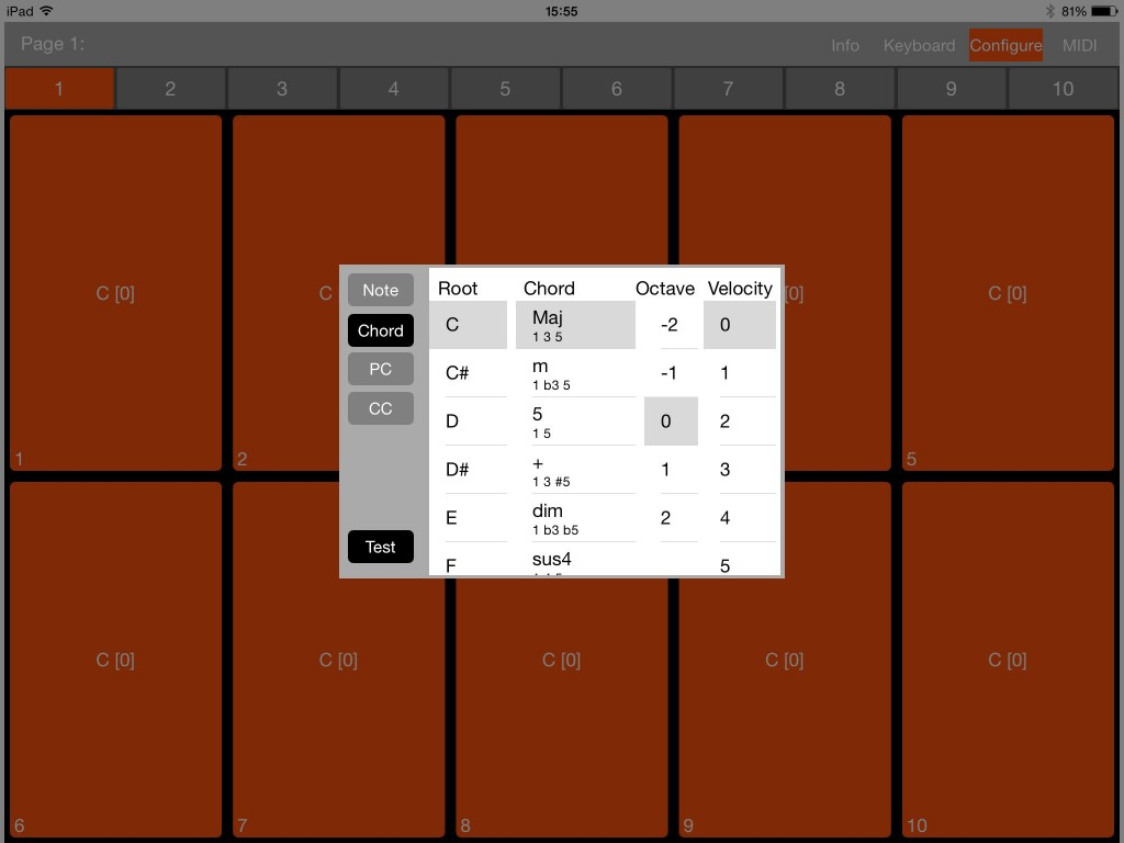 The chord options provide plenty of different chord type to choose from.