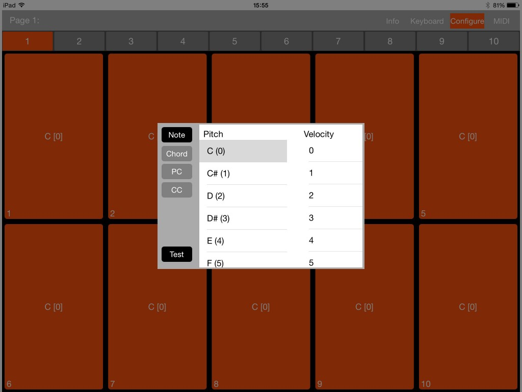 The Configure button allows you to set any one of four different types of MIDI actions to each trigger pad, including MIDI notes as shown here.