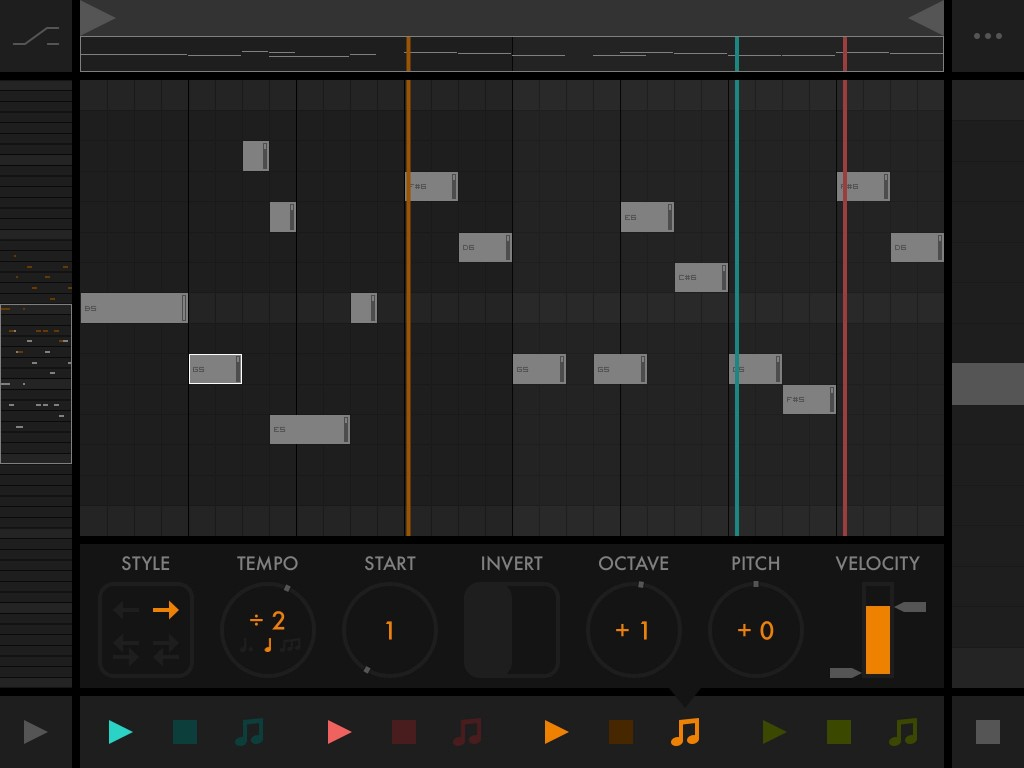 Fugue Machine - a novel approach to pattern-based MIDI sequencing under iOS.