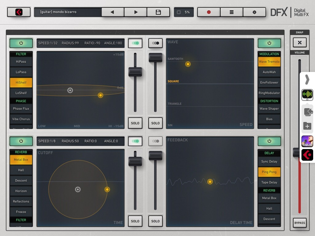 DFX - multi-effects for the iOS masses and now with iOS9 support and a number of new features.