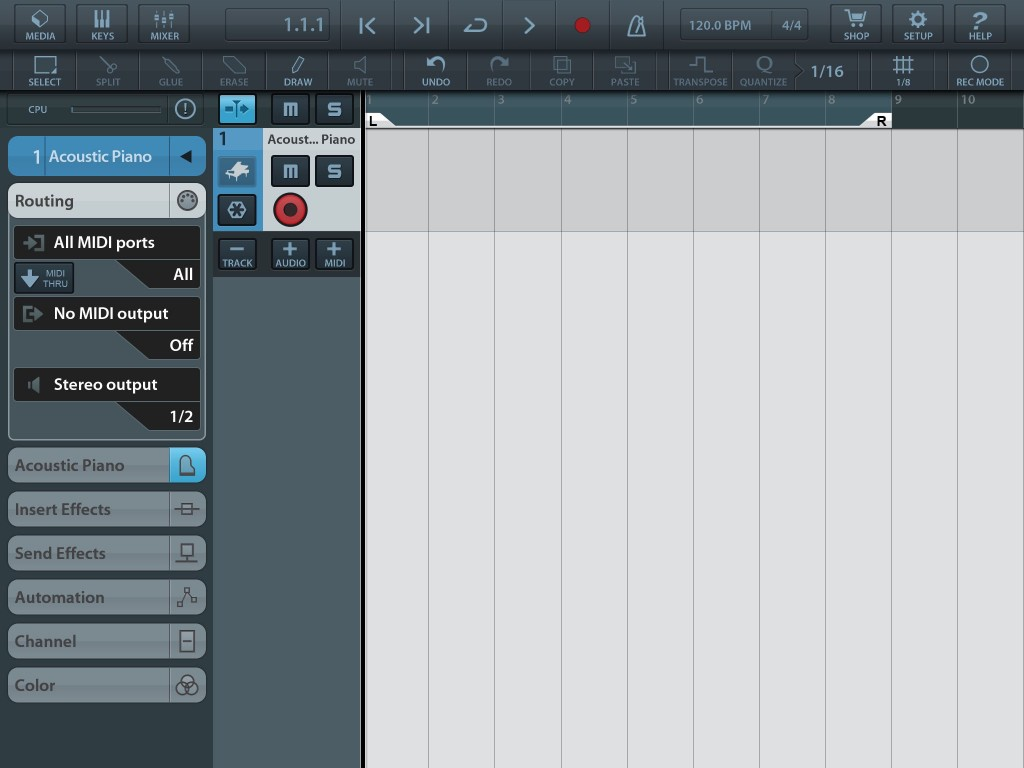 Hit the '+ MIDI' button and you get a new (scarily blank!) MIDI track within which to get creative.