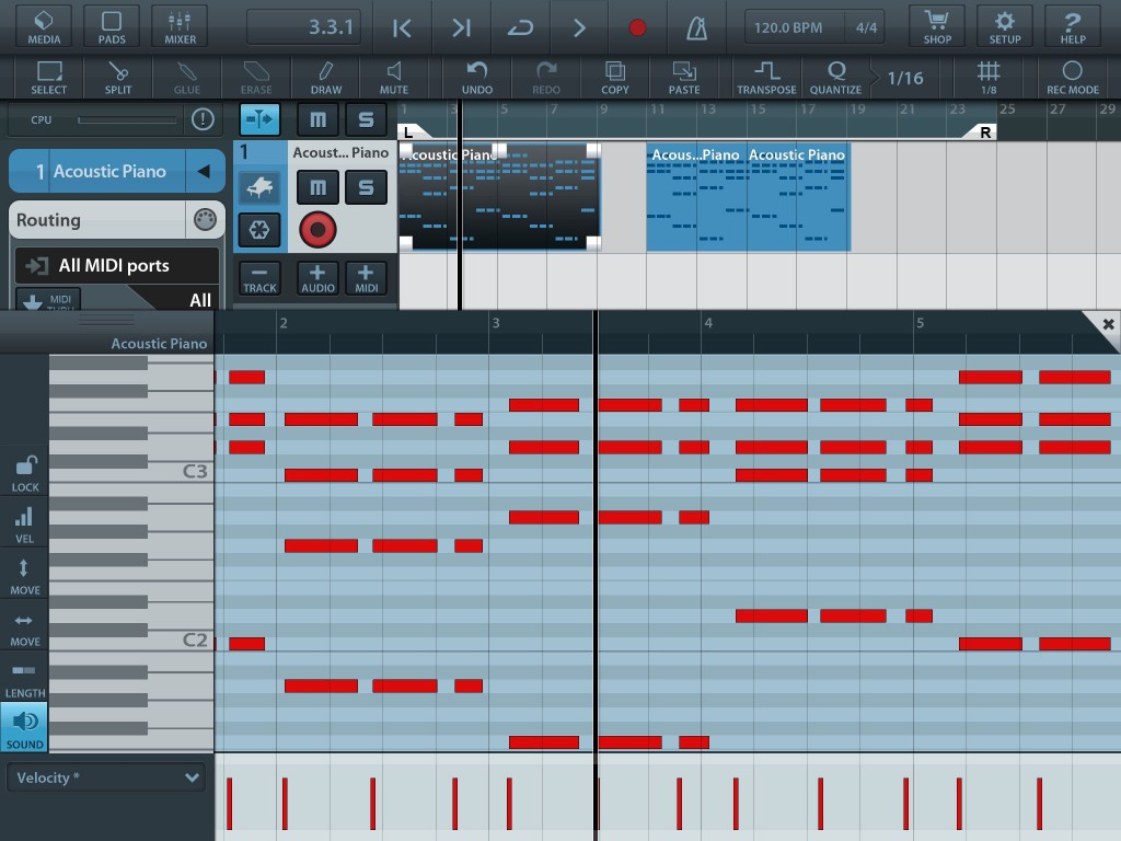 Like most conventional DAW/sequencers, Cubasis provides a piano-roll editing environment for working with MIDI note data.
