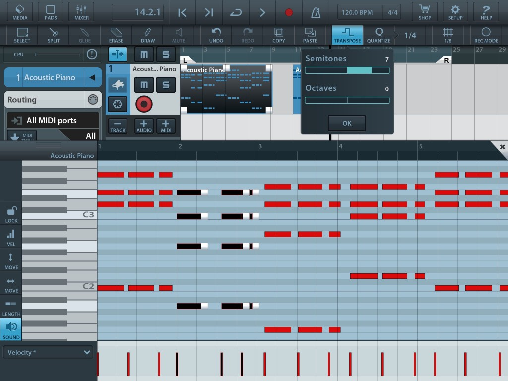 Within the Cubasis piano-roll editor, you can select single notes - or groups of notes as shown here - and apply editing operation such as move, transpose, copy, delete, etc. to those selected notes.