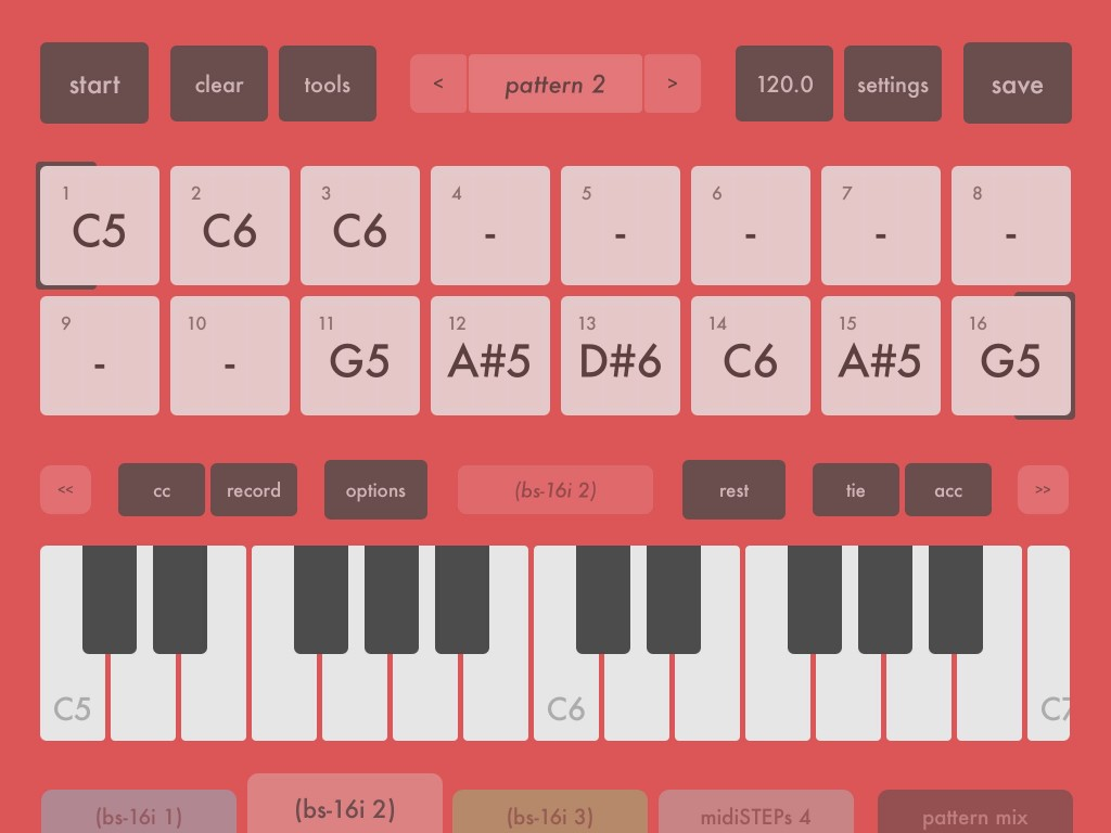 midiSTEPs; four step-based sequencers in one iOS app.