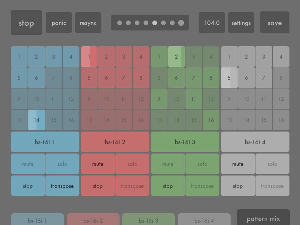 The Pattern Mix screen allows you to then 'perform' with your various patterns combining them in any way you choose.