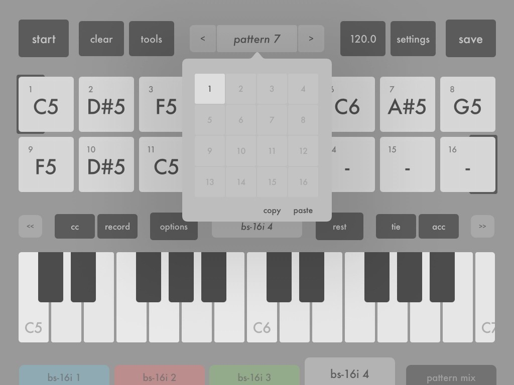 Within a project, each of the four sequencers has its own set of 16 patterns while patterns can contain up to 64 steps.