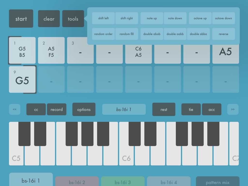 The Tools options provide a number of preset tweaks you can use to add variety to your patterns.