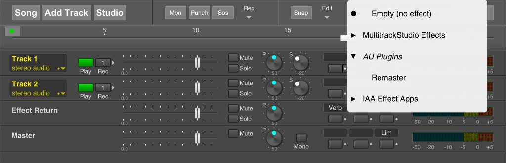 MultitrackStudio now offers an 'AU plugins' category for effects for you to select from.