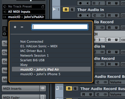 Within Cubase, I now saw separate MIDI devices for my two different iOS devices.