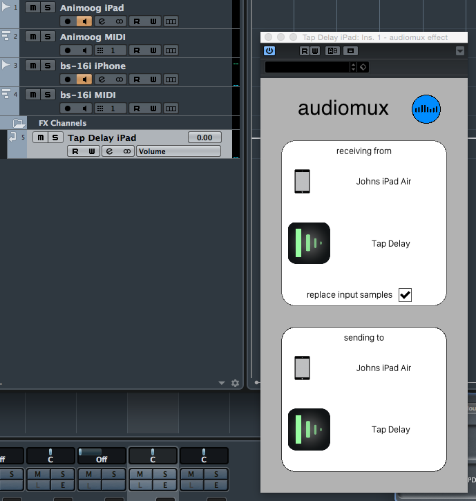 Studiomux allows you to create send-return audio channels for using iOS effects apps within your desktop DAW/sequencer.