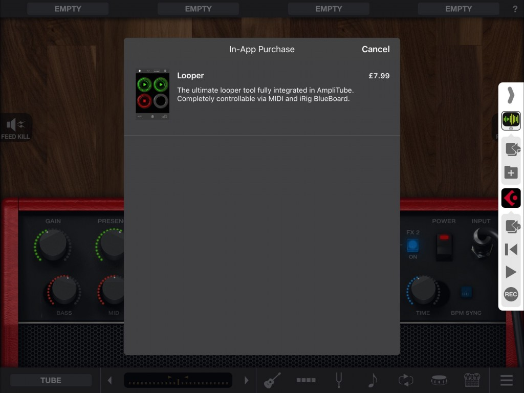 As for other versions of AmpliTube, there are various features you can add or expand upon via some IAPs... including the Looper options shown here.