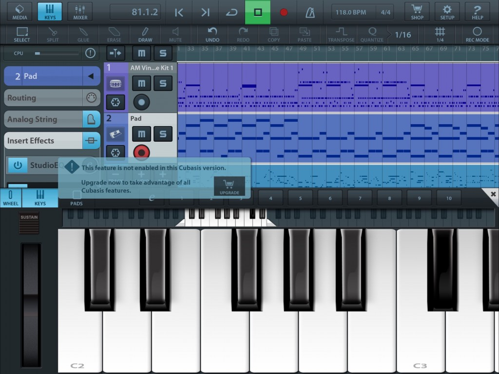 If you try to access a feature that is not available in the LE version then you get a little reminder.... as shown here for the Chord Pads feature.