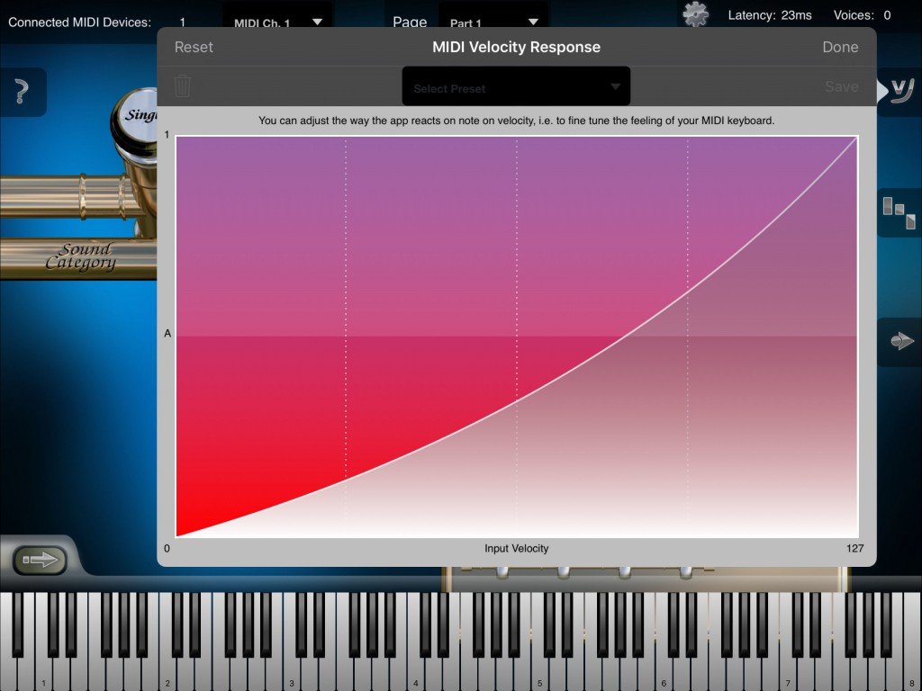 As well as the various patch and key-switching, Heavy Brass also features the various settings/options found in a number of other Crudebyte apps such as a recording section and, as shown here, the ability to define your own MIDI velocity response curve.