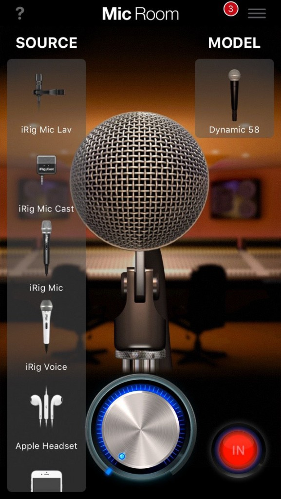IK Multimedia's Mic Room app includes a preset input for the Mic Lav to best match the input with the subsequent mic modelling.