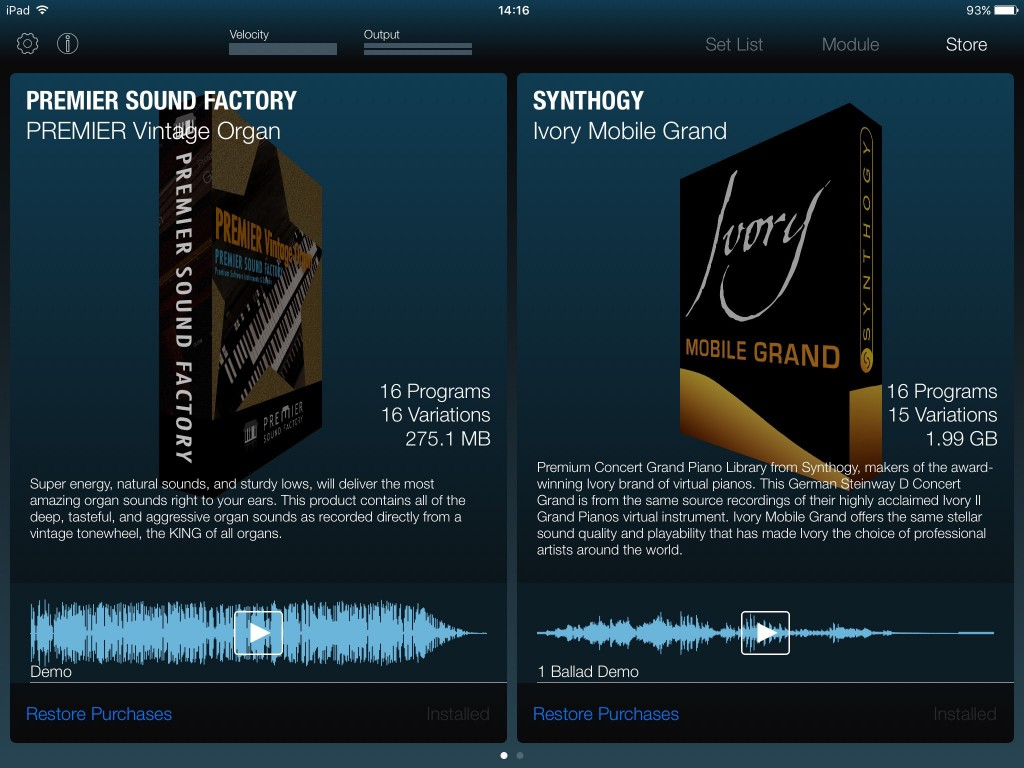 Module offers a number of additional sounds via IAP.