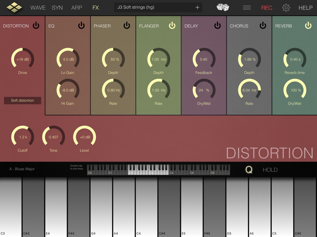 The seven effects provide plenty of addition ear candy options for your sounds and I particularly liked the distortion section.