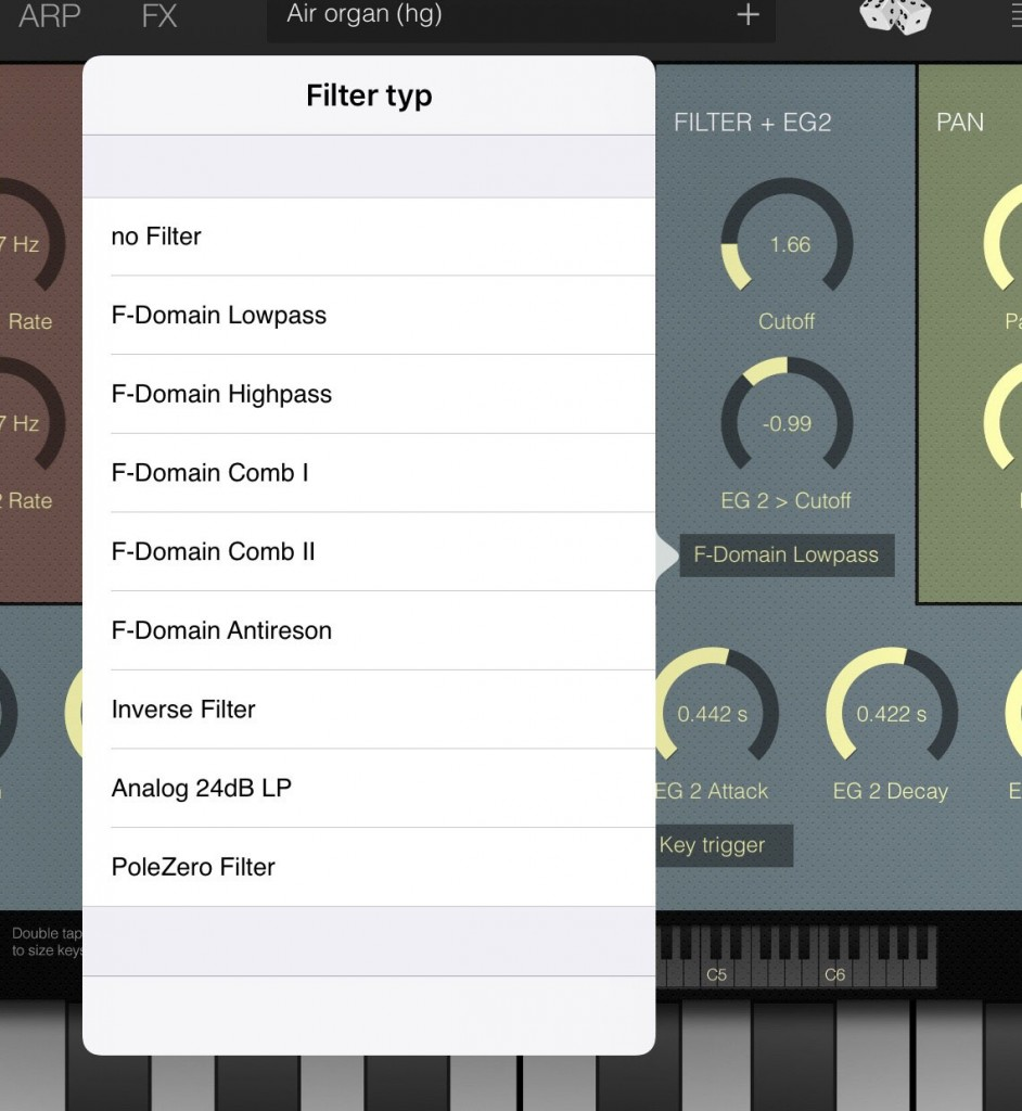 The Filter section comes with a number of different filter mode options.