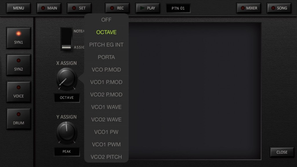You can use the Kaoss pad to control two user-selected synth parameters if you wish.