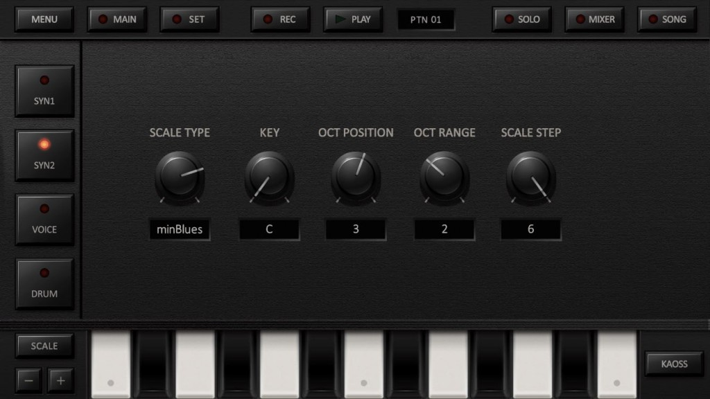 You can customise the key/scale combination used by the virtual keyboard or the Kaoss pads.