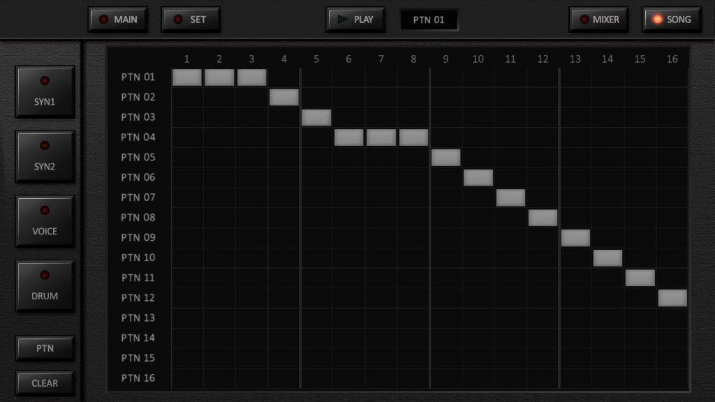 The Song page allows you to sequence your patterns into a complete arrangement.
