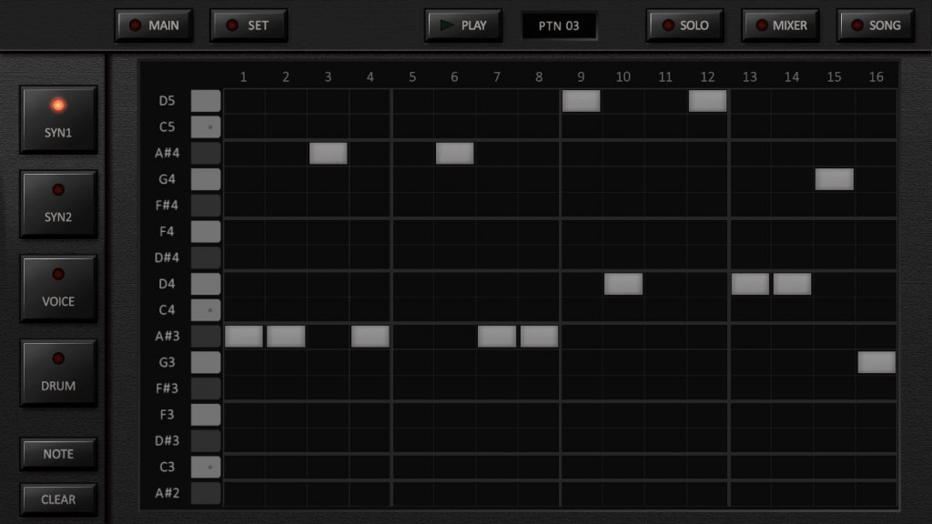 The grid/step editor for the main synth units.