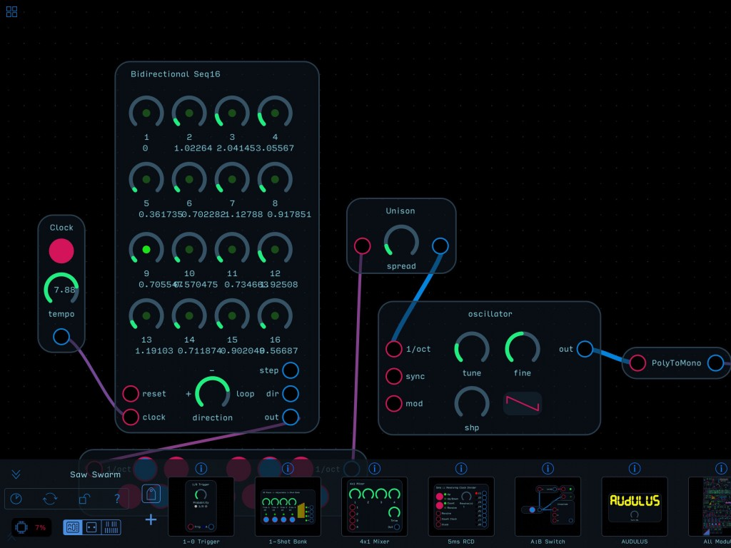 Audulus 3 provides a modular environment for building all sorts of virtual sound devices.